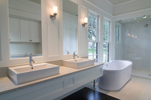 bathroom, white, elegant, modern, clean, sink, double, tub, bathtub, bath, shower, glass, counter, inside, interior, home, house, fixture, remodel, expensive, wood, cabinet, faucet, wash, window, glass, chrome